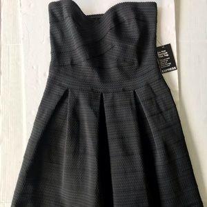 NWOT Express Strapless Banded Dress Black Sz Large